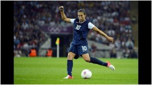 Women's National Team Midfielder Carli Lloyd in mid-kick.