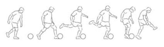 Six-part image of a soccer kick