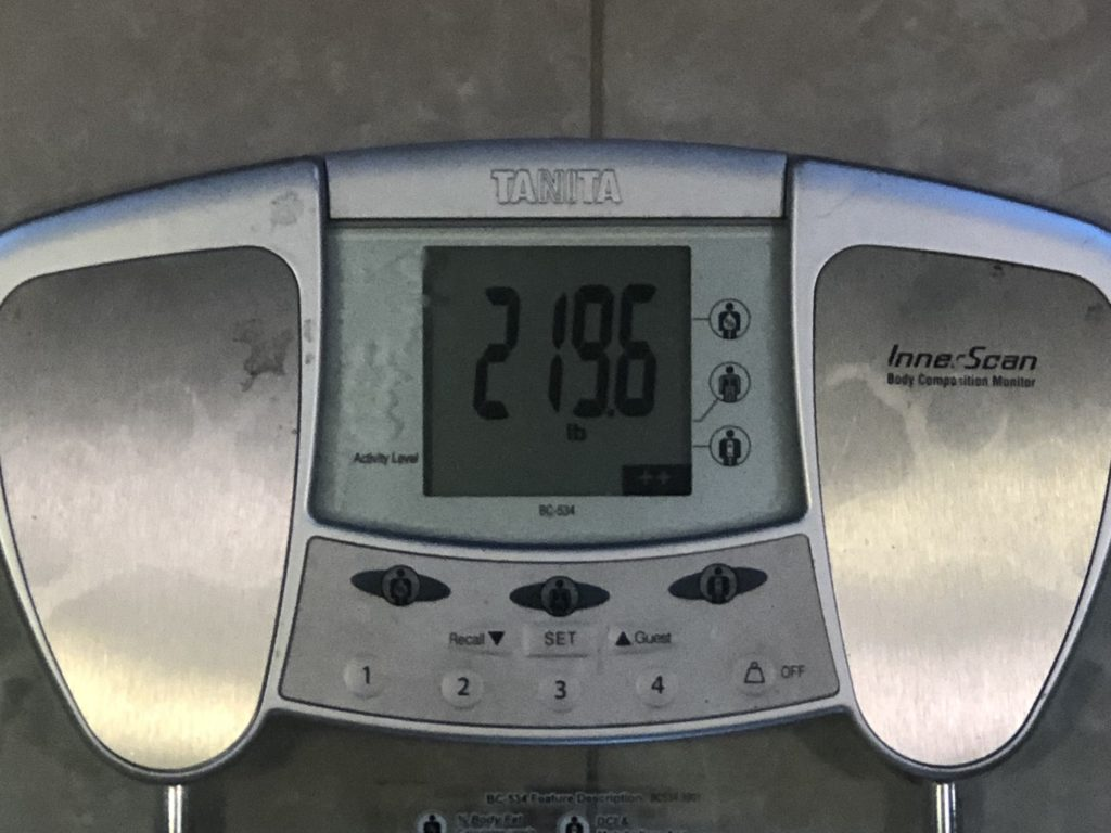 scale reading 219.6 pounds